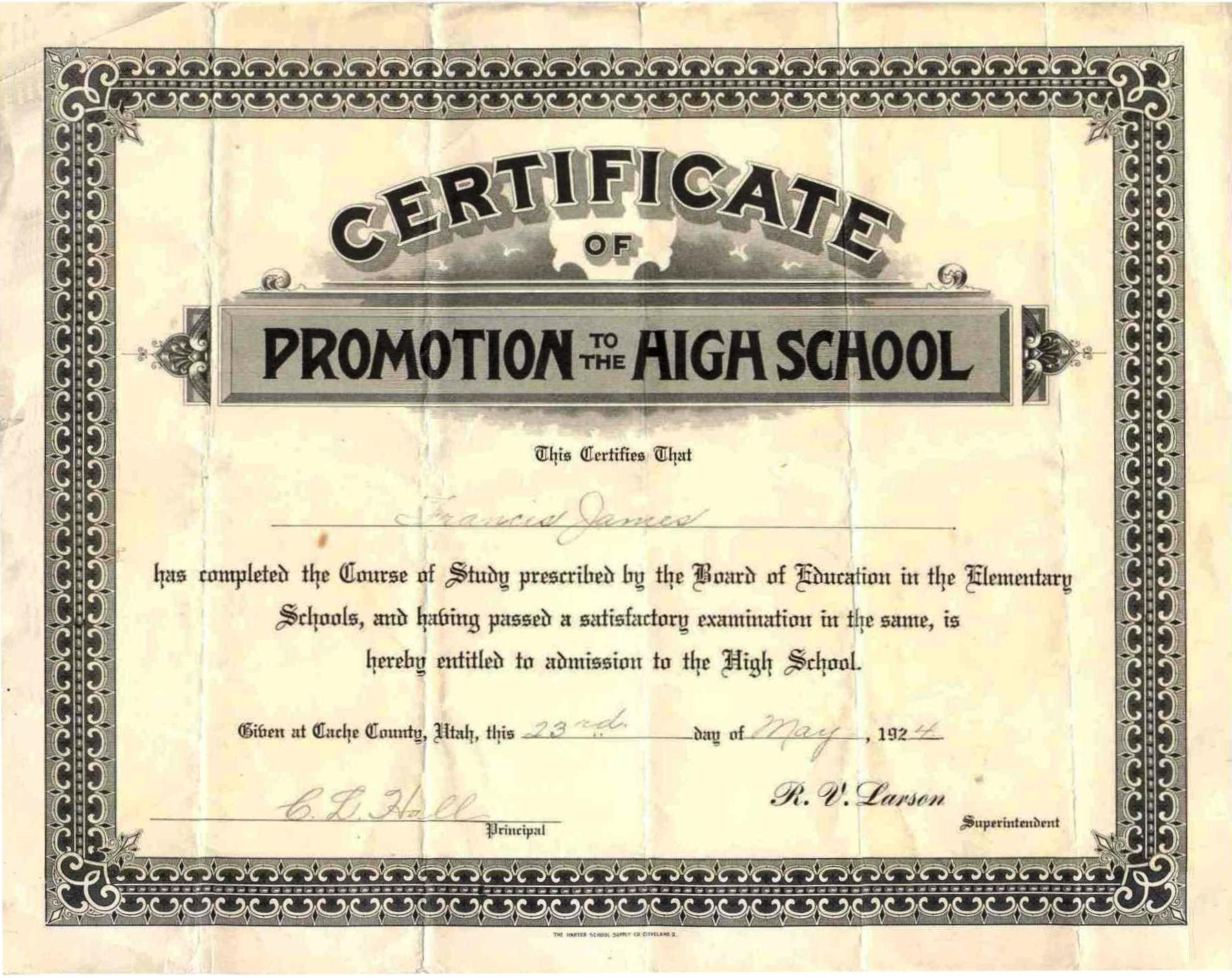 documents elementary school graduation certificate for francis jacob james ken melissas family history site